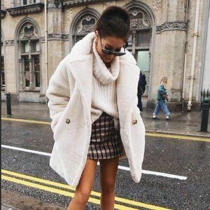 Topshop White Faux Fur Borg Coat